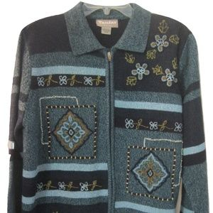 TanJay Knit Cardigan Petite Medium Multi color